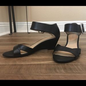Nine West Low Wedge Buckle Strap Sandals